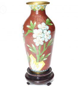 1 Petit Vase chinois email émaux cloisonnés rouge vert turquoise sur socle Vintage Ancien