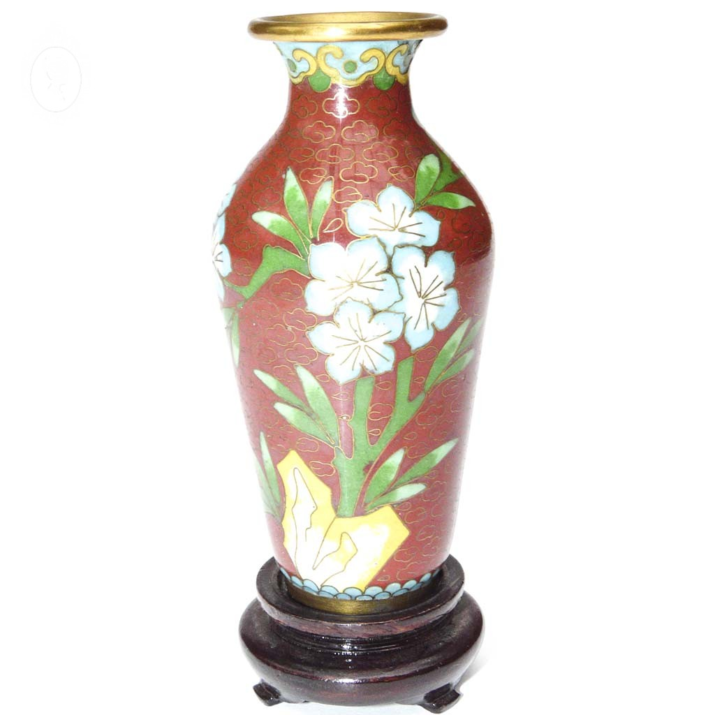petit vase chinois email maux cloisonn s rouge vert. Black Bedroom Furniture Sets. Home Design Ideas