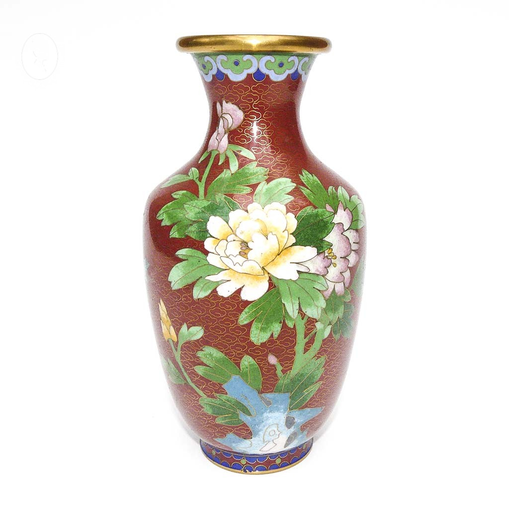 vase chinois en email maux cloisonn s rouge vert vintage ancien brocante chic. Black Bedroom Furniture Sets. Home Design Ideas