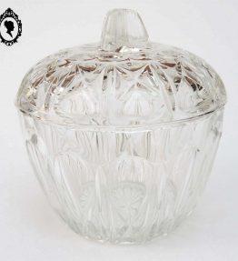 1 Bonbonnière sucrier en verre blanc moulé ciselé vintage REIMS