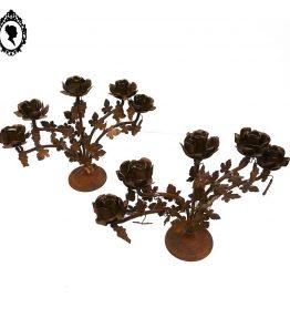 1 Romantiques deux chandeliers de table 5 bougeoirs fer rouillé et soudé à poser