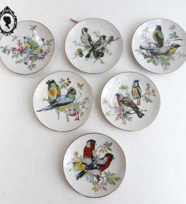 1 Six petites assiettes de décoration murales à accrocher thème oiseaux porcelaine blanche