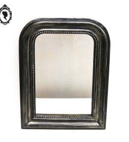 1 Miroir cadre ancien Louis Philippe bois patiné noir argent style baroque