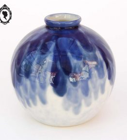 1 Vase boule CT Camille THARAUD en Porcelaine de Limoges France bleu blanc vintage Art Déco