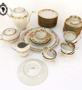 1 Service thé café gâteau en porcelaine de Luxe Royal ADP blanc avec dorures à l'or fin 42 pièces Vintage