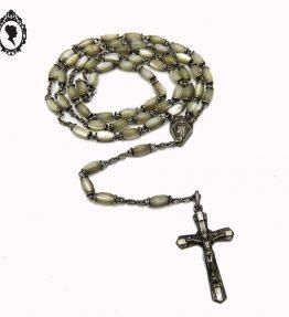 1 Chapelet rosaire gris en nacre perles allongées objet religieux avec Christ