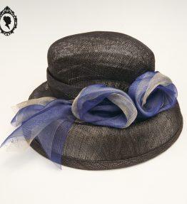 1 Chic Chapeau femme cérémonie bleu marine JOA NELL sisal paille NEUF Taille S ou 55 cm
