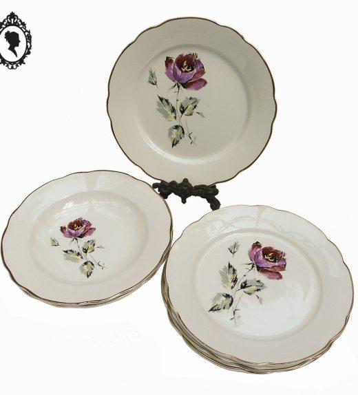 1 Lot service assiette plate creuse décor fleuri Digoin Sarreguemines France vintage