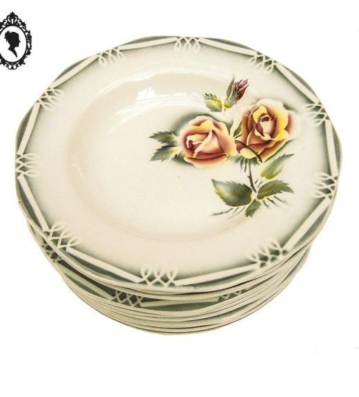 1 Lot service assiette plate creuse fleur rose ADELE ODILE Digoin Sarreguemines France vintage