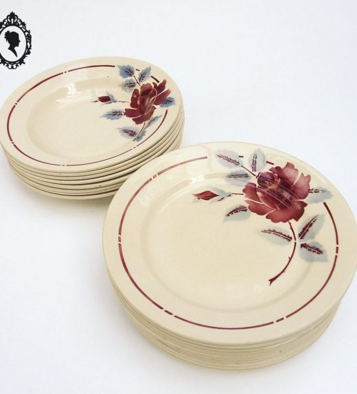 1 Lot service assiette plate creuse fleur rose Moulin des Loups Hamage France vintage