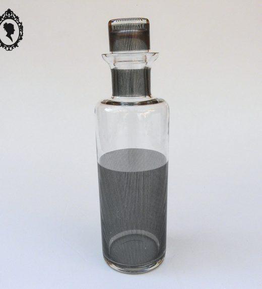 1 Carafe Thomas allongée ronde en verre blanc transparente strié de trait noir avec capuchon