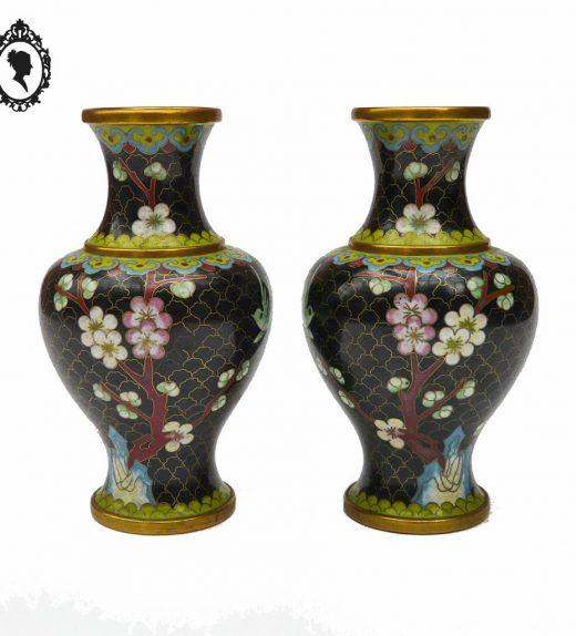1 Paire de pot vase chinois émaux cloisonnés base noir vintage et chic