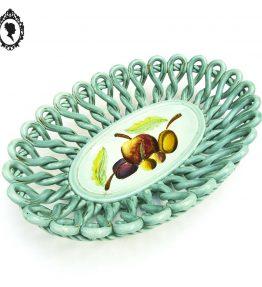 1 Coupelle coupe à fruit plat ajouré faïence céramique torsadée bleu turquoise Vintage