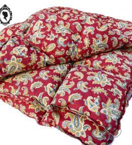 1 Edredon couverture couette courtepointe en plume duvet motif cachemire rouge ancien vintage