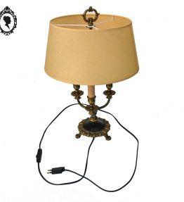1 Lampe bouillotte bronze laiton doré noir style empire 3 pattes de lion ancienne vintage