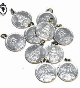 1 Lot 10 médailles religieuses gris argenté métal blanc Notre Dame de Peyrusse