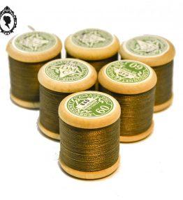 1 Lot 6 bobines de fil marron taupe DMC N°640 coton bobine bois vintage