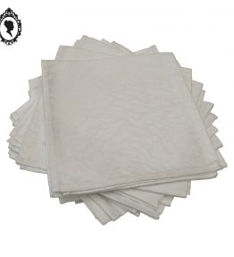 1 Lot de dix serviettes blanches damassées zébrées vintage