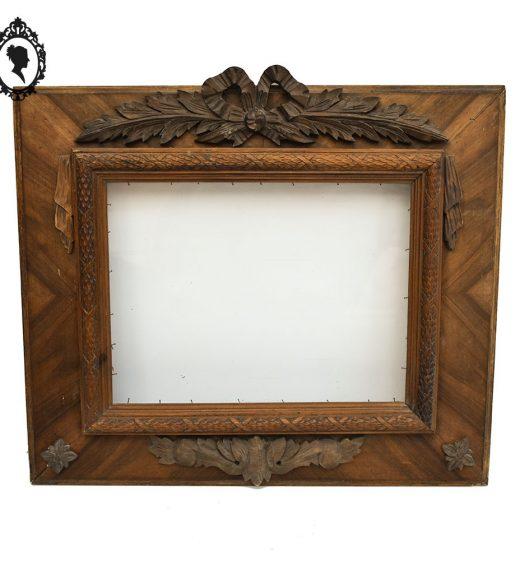 1 Rare grand cadre rectangulaire en bois sculpté fronton nœud 63x53 ancien vintage