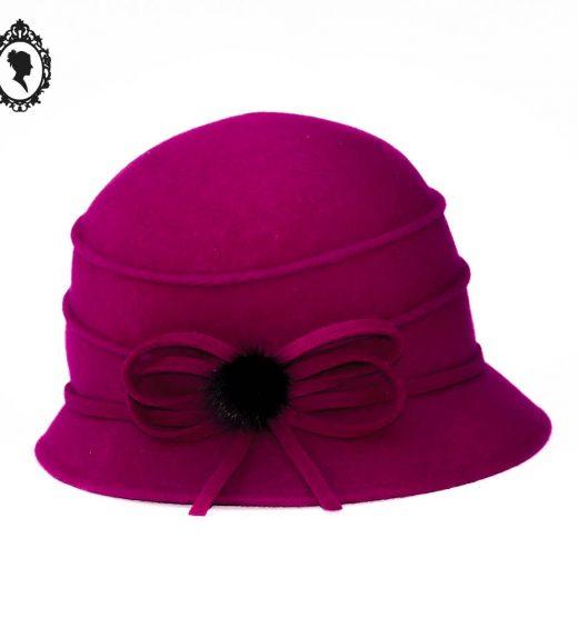 1 Chic Chapeau femme forme cloche laine bouillie feutrine hiver rose fuschia NEUF Taille S ou 55 cm