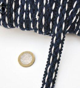 1 Galon laine bleu marine blanc L 1,7 cm passementerie vintage pop