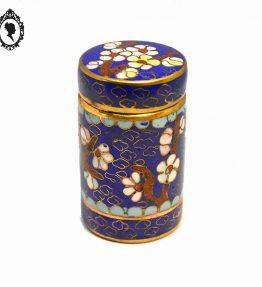 1 Magnifique petite boite ronde longue en émail émaux cloisonnés bleu nuit motif floral fleur