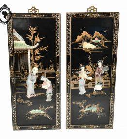 1 Paire de panneau cadre tableau chinois asiatique noir laqué or incrustations de nacre ancien.