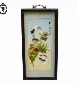 1 Panneau cadre tableau chinois asiatique noir incrustation oiseau fleur de nacre ancien.